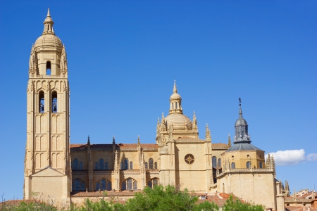 segovia: View of catholic cathedral in the center of Segovia