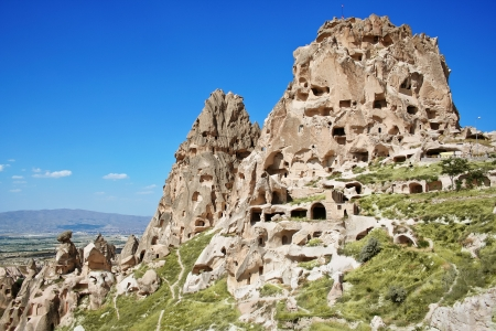 Amazing view of Uchisar castle in Cappadocia, Turkey Stock Photo