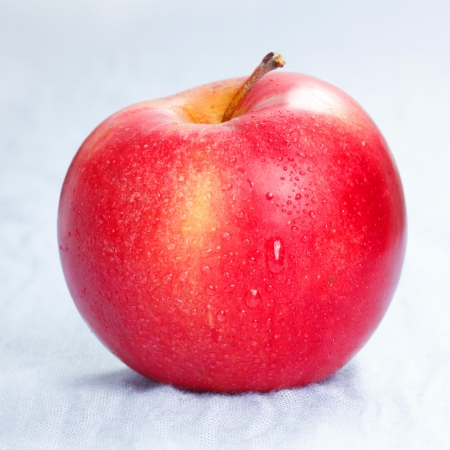 Red ripe apple on blue background Stock Photo - 19025713