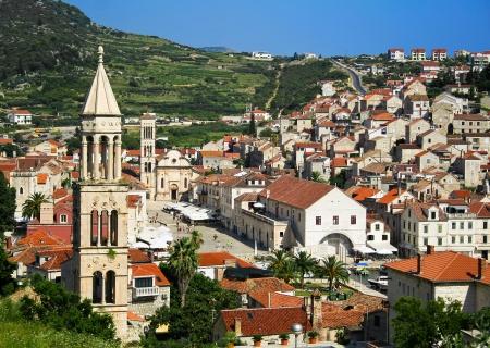 Mooi uitzicht van de stad Hvar op Hvar eiland, Kroatië Stockfoto