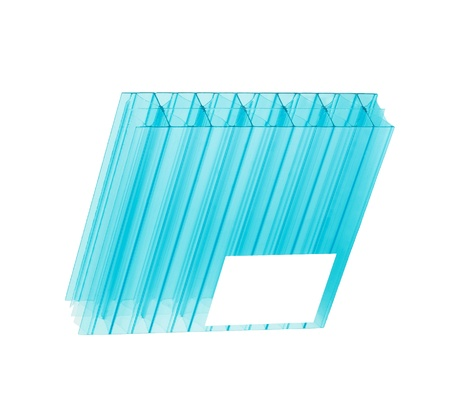 Blue color polycarbonate sheet isolated on white background Banque d'images