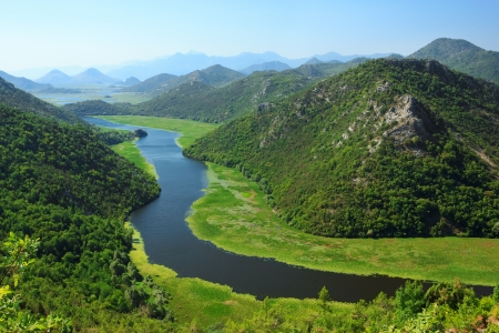 traditional climbing: Amazing view of Rijeka Crnojevica  Skadar lake national park Stock Photo