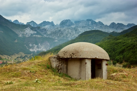 Mening van de Bunker in Albanese Alpen Stockfoto