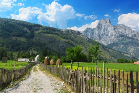 Peaceful view of countryside in Albanian Alps, Valbona national park, Albania photo