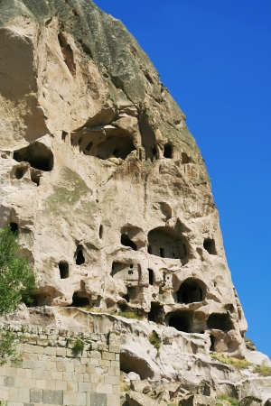 Beautiful view of caves in Ihlara valley in Cappadocia photo