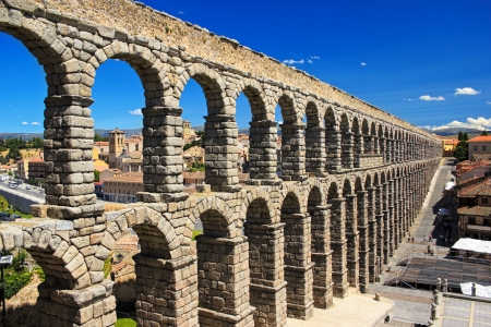 segovia: Ancient aqueduct in historic center of Segovia