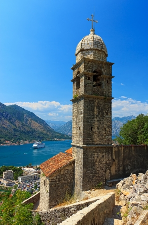 View of beautiful church in Kotor old town photo