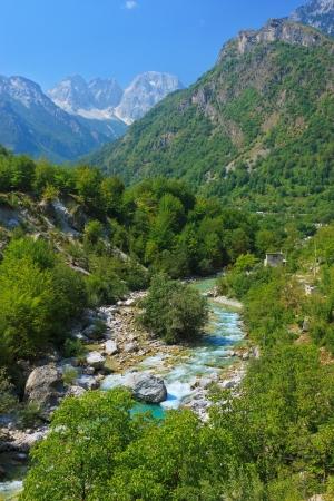 albania: Amazing view of mountain river in Albanian Alps Stock Photo
