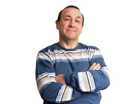 Middelbare leeftijd lachend tatar man op een witte achtergrond Stockfoto - 24304184