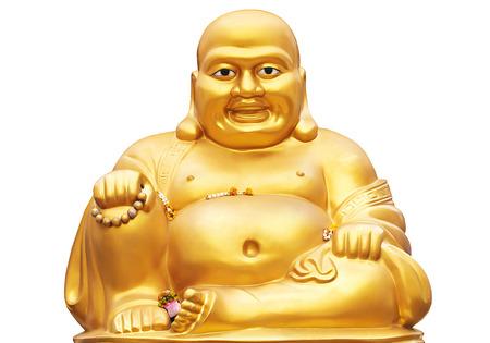 Glimlachend Gouden Boeddha standbeeld geà ¯ soleerd op een witte achtergrond