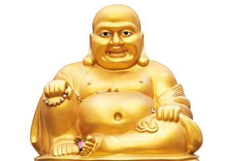 chinese philosophy: Smiling Golden Buddha Statue isolated on a white background