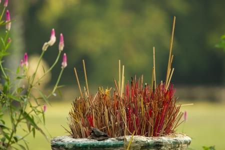 burner: Incense sticks in the buddhist temple, Cambodia