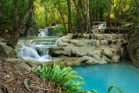 Relaxing view of Erawan waterfall, Erawan National Park