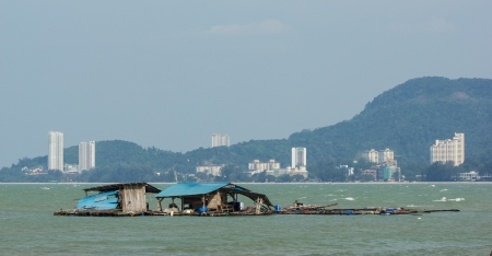 Floating fisherman s hut near Penang National Park photo