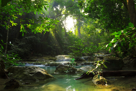 Relaxing view of Erawan waterfall, Erawan National Park photo
