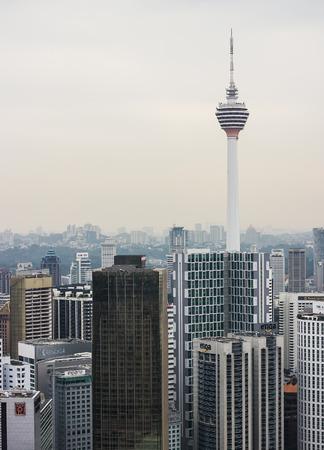 KUALA LUMPUR, MALAYSIA - JANUARY 28 Kuala Lumpur Tower  Menara  on January 28, 2014 in Kuala Lumpur, Malaysia  The tower reaches 421 m