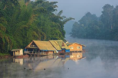 Floating house on the river Kwai, Kanchanaburi photo