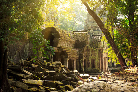 Amazing view of Ta Phrom temple ruins in Angkor, Siem Reap Stock Photo