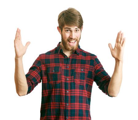 pecheur: Heureux jeune homme barbu se vanter de la grande taille de quelque chose Banque d'images