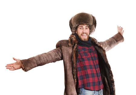 handsign: Happy Bearded man dancing Stock Photo