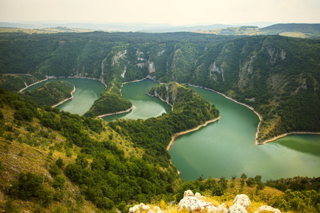 Amazing canyon with the curving river Uvac in Serbia