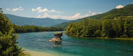 hill of tara: Serene lonely house on the river Drina in Bajina Basta, Serbia