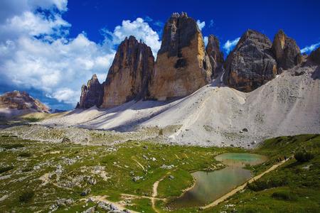 dolomite: Tre Cime (Three Peaks) di Lavaredo - Famous Mountains in Dolomites, North Italy