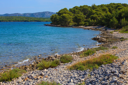 Coast of Adriatic Sea on Murter island, Croatia