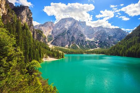 Amazing view of Braies Lake (Lago Di Braies, Pragser Wildsee) in Northern Italy.
