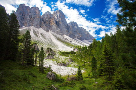 Amazing Dolomites, near Santa Magdalena. Adolf Munkel Trail in Mountains of Northern Italy