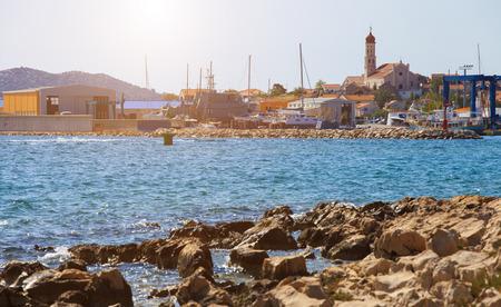 betina: Serene view of old town of Betina, Murter island, Croatia Stock Photo