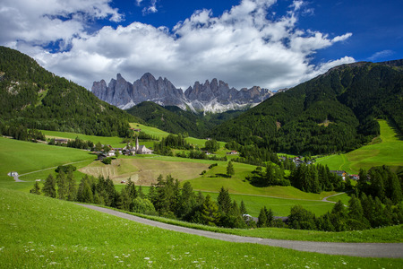Santa Magdalena and Dolomites mountains, Vall di Funes, South Tyrol, Italy