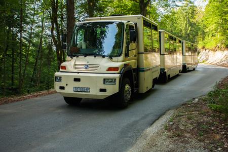 plitvice: PLITVICE, CROATIA - JULY 23, 2016: The free shuttle system provides convenient access around Plitvice lake national park, Croatia