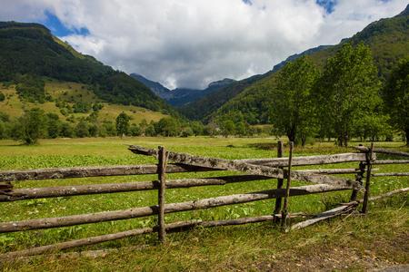 serene landscape: Serene landscape of small village Kuti in Montenegro Stock Photo