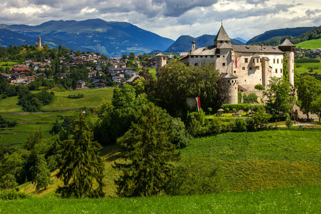 renovated: Amazing medieval castle of Presule in Dolomites mountains, Northern Italy