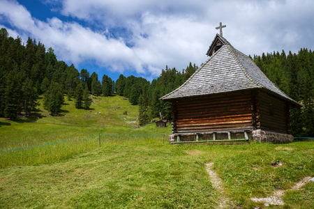 Wooden church in the mountains of Italy