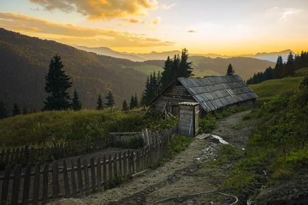 View of the family farm on the countryside Prokletije mountains, Montenegro