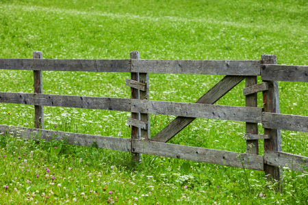 Country style wooden fence in a meadow Stock Photo