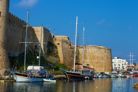Beautiful view of old harbour in Kyrenia town, North Cyprus