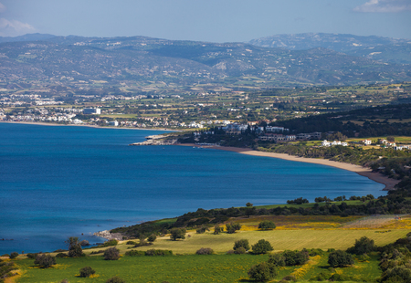Serene view of coastline of Mediterranean sea, Akamas Peninsula National Park in Cyprus Stockfoto