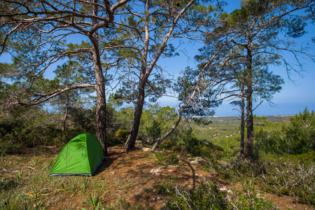 Tourist tent in a forest, Akamas Peninsula National Park, Cyprus Stockfoto