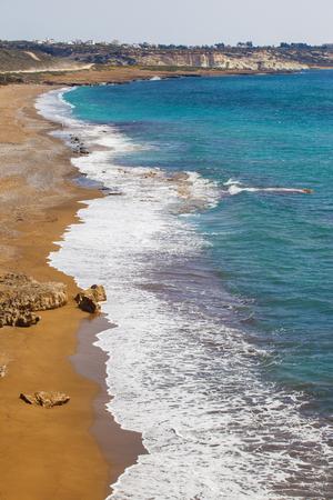 Serene view of coastline of Mediterranean sea in Cyprus Stockfoto
