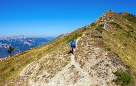 Tourist on a mountain trail