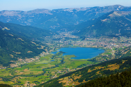 Birds eye view of Plav - Small town in a mountains of Montenegro