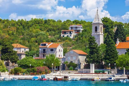 Small tourist town - Prvic Luka, on island Prvic near Vodice and Sibenik, Croatia