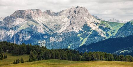 Lonely house in Amazing Mountain Landscape, Dolomite Alps Stock Photo
