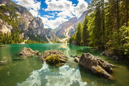 Amazing view of Braies Lake (Lago Di Braies, Pragser Wildsee) in Northern Italy. Stock Photo