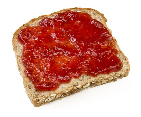 multi grain sandwich: Multigrain sandwich with butter and strawberry jam isolated on white