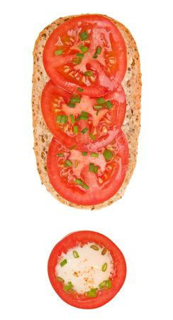 Exclamation mark formed by a fresh tomato sandwich and tomato & yogurt appetizer photo