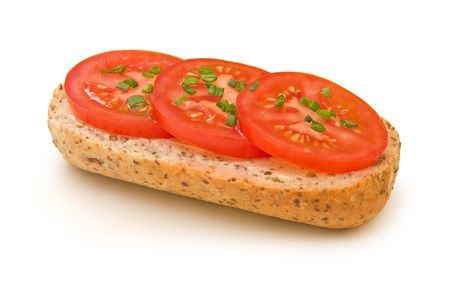 Fresh tomato sandwich wich chives isolated on white photo